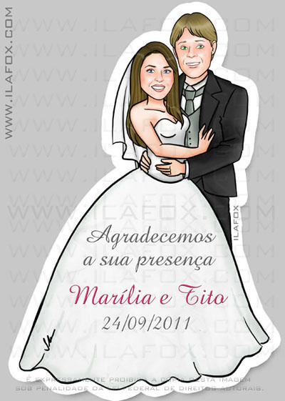 Caricatura noivos, casal, corpo inteiro, colorido, lembrancinha casamento, lembrancinha magntica, lembrancinha original, by ila fox