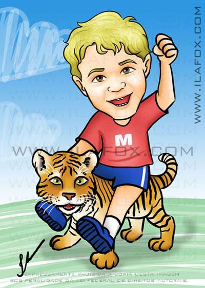 Caricatura colorida, corpo inteiro, menino loiro, tigre, kinectmals caricatura by ila fox
