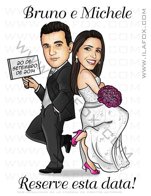 caricatura personalizada, caricatura save the date, caricatura noivos, caricatura bonita, caricatura para casamento, by ila fox