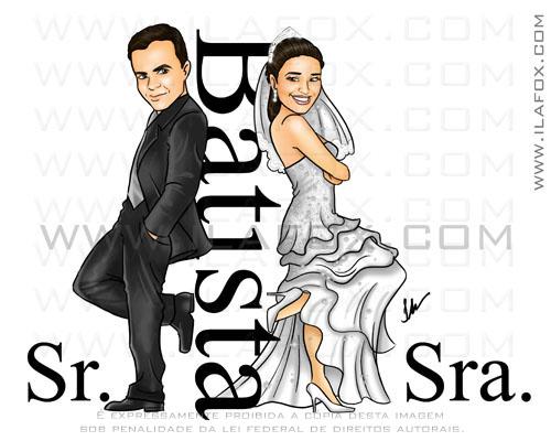 Caricatura casal, Batista, noivos, corpo inteiro, Sr Sra Smith, casalzinho Nagela e Everson, caricatura para casamento, by Ila Fox