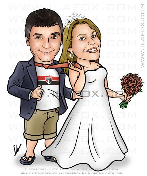 caricatura colorida, casal, noivos, noivinhos Vanessa e Diego, noivo segurando noiva, viagem lua de mel miami, praia, caricatura para casamento, caricatura by ila fox