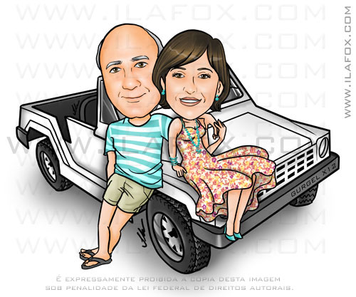 Caricatura colorida, corpo inteiro, casal, jipe Gurgel 12X, by ila fox