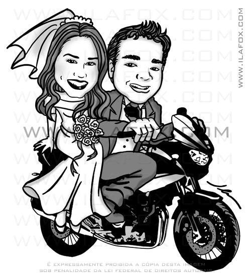 caricatura de noivos na moto, Yamaha TDM 900, noivinhos Adriana e Raphael by ila fox