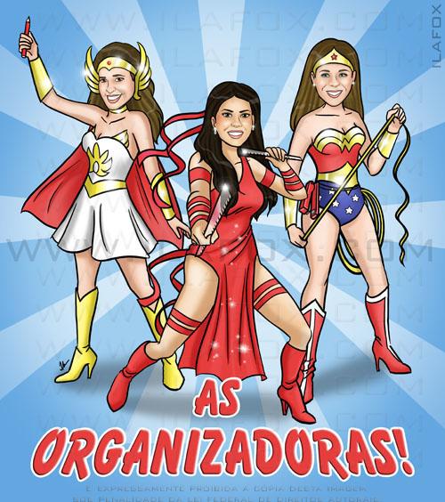 caricatura, corpo inteiro, colroido, amigas, super heroínas, mulher maravilha, she-ra, elektra, by ila fox