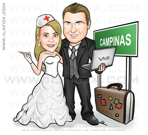 caricatura, casal nerd, noviinhos, novia enfermeira, noivo segurando notebook, placa para Campinas, caricatura para casamento ila fox