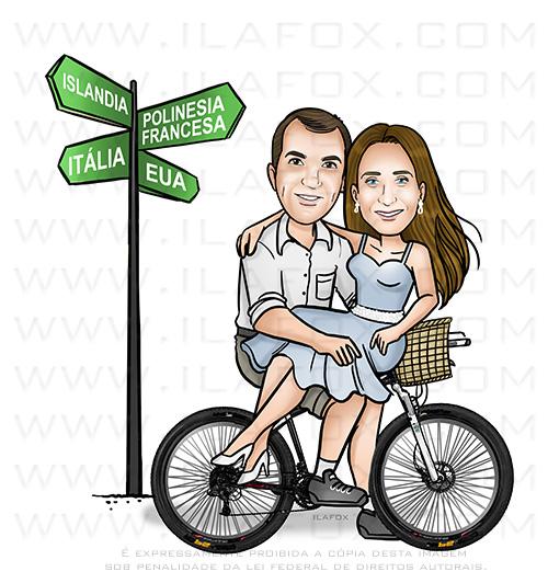 caricatura ciclista, caricatura casal na bicicleta, caricatura casal, caricatura noivos na bicicleta, caricatura divertida, by ila fox