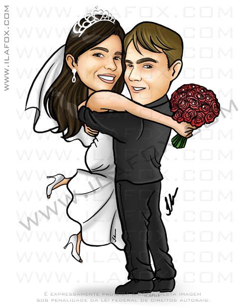 caricatura casal, caricatura noivinhos, caricatura abraçados, by ila fox