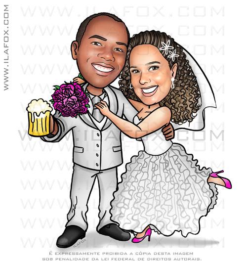 caricatura casal, caricatura noivos, caricatura para casamento, noivos negros, by ila fox