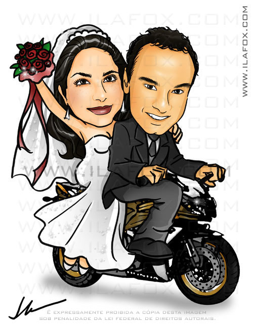 caricatura colorida, casal, noivos, noivinhos priscila e willian na moto, moto honda CBR600RR, caricatura para casamento, by ila fox