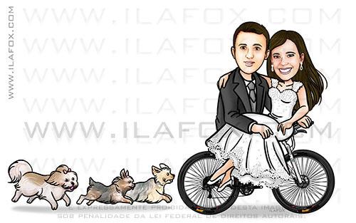 Caricatura noivos na bicicleta, caricatura casal, caricatura bonita, caricatura original, caricatura cachorrinhos, caricatura casamento, by ila fox