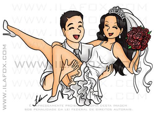 caricatura ilustração noivinhos estilo mangá, desenho janponês, noivo segurando noiva, noiva no colo, caricatura para casamento, by ila fox
