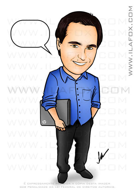 caricatura, colorida, corpo inteiro, homem segurando notebook HP, by ila fox