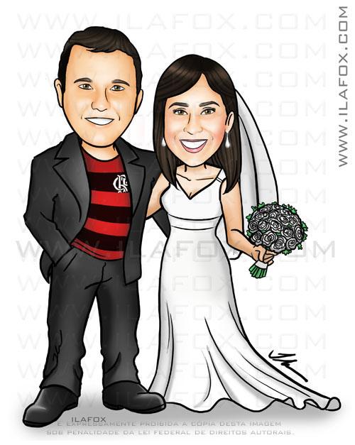caricatura casal, torcedor flamengo, noiva vestido branco, caricatura casal, by ila fox