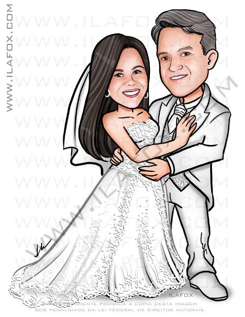 Caricatura personalizada, caricatura noivos, noivo de terno branco, noiva vestido rendado, by ila fox