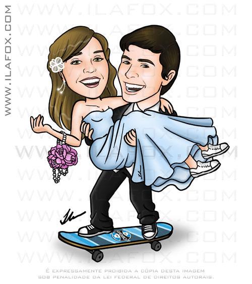 caricatura, colorida, corpo inteiro, noivo no skate, grêmio, noiva no colo do noivo, noiva de vestido azul, noivos felizes, noivinhos Rosangela e Daniel, caricatura para casamento, by ila fox