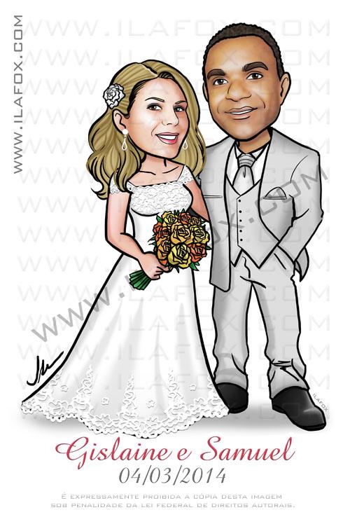 caricatura casal, caricatura noivos, caricatura bonita, caricatura para casamento, caricatura personalizada, caricatura noiva loira e noivo moreno, by ila fox