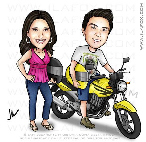 Caricatura casal na moto, caricatura colorida, moto honda twister, by ila fox