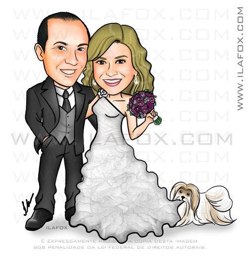 Caricatura casal corpo inteiro, abraçados, noivo carequinha, noiva loira, com cachorrinho puxando o vestido, caricatura para casamento by ila fox