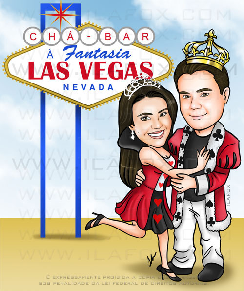 Caricatura colorida, corpo inteiro, rei e rainha de copas, chá bar, placa Las Vegas, Welcome to Las Vegas, festa a fantasia, by ila fox