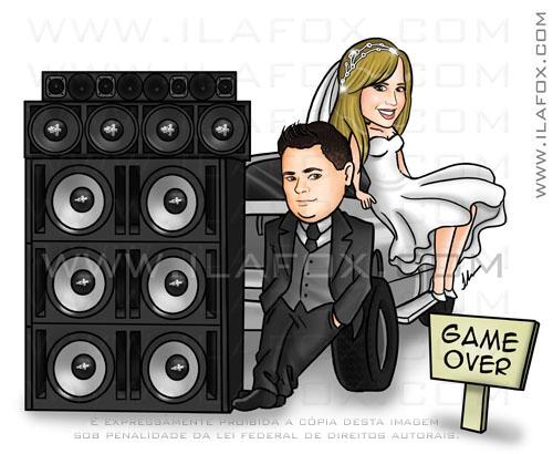 Caricatura colorida, casal, noivos, corpo inteiro, caixa de som, som automotivo caricatura, noivinhos tatiane e diego, caricatura para casamento, by ila fox