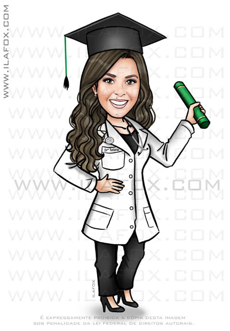 caricatura formatura, caricatura personalizada, caricatura medicina, by ila fox