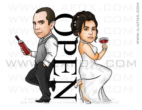 caricatura casal, cariactura noivos, sr e sra smith, by ila fox