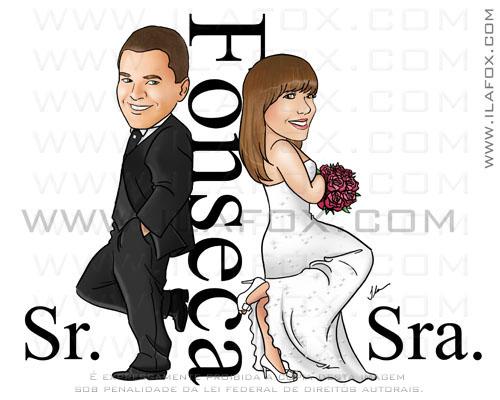 Caricatura colorida, Fonseca, casal, noivos, corpo inteiro, sr e sra smith, noivinhos Thais e Elildes,caricatura para casamento,  by ila fox