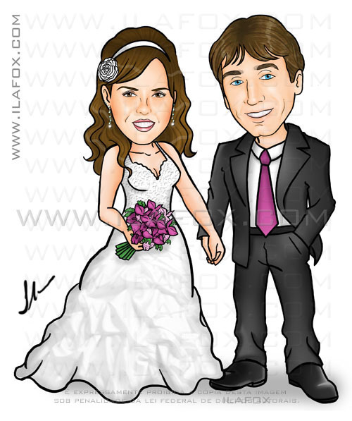 caricatura casal de noivos, caricatura noivinhos, corpo inteiro, colorida, by ila fox