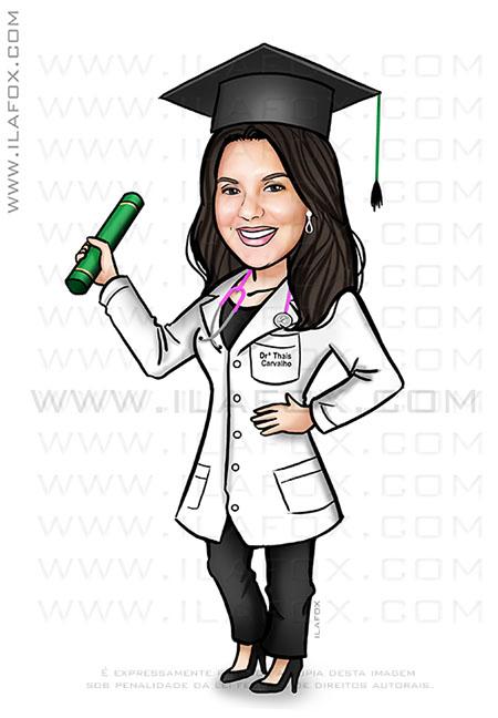 caricatura da formatura, caricatura medicina, caricatura bonita, caricatura para formandos, by ila fox