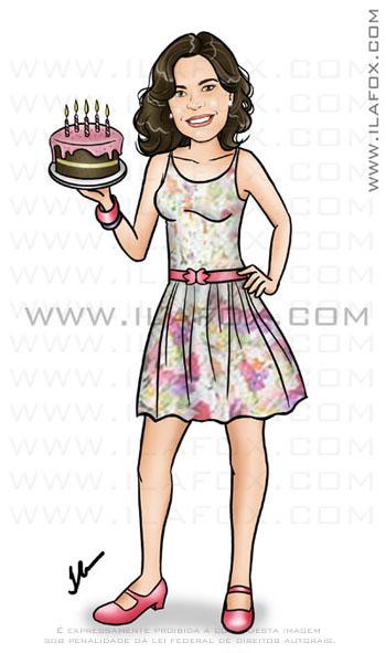 Caricatura mulher, Caricatura sem exagero, Caricatura proporcional, cartoon, corpo inteiro, colorido, aniversário, segurando bolo, by ila fox