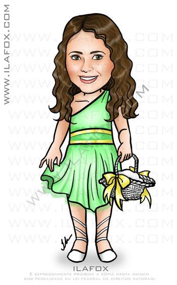 caricatura daminha de honra, caricatura infantil, corpo inteiro, colorido, caricatura para casamento by ila fox