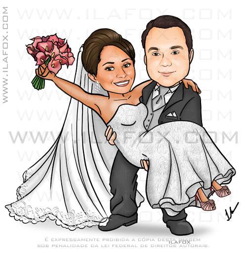 caricatura noivo segurando noiva, véu longo, buquê de callas, by Ila Fox
