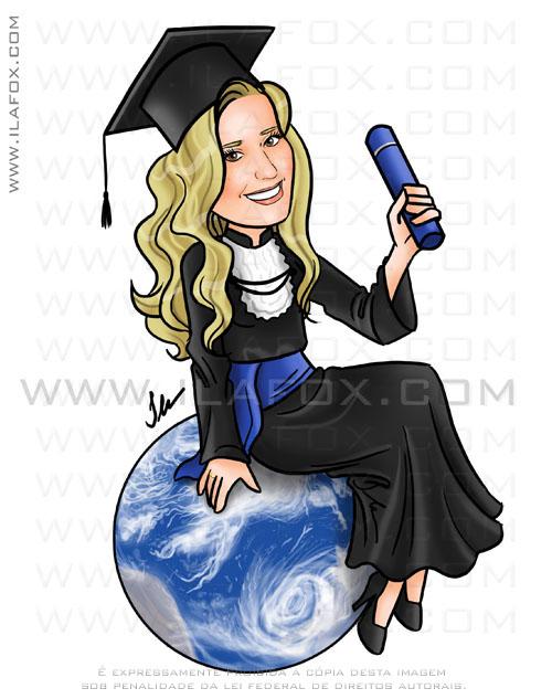 Caricatura formatura, formanda, sentada em cima do mundo, usando beca, curso turismo by ila fox