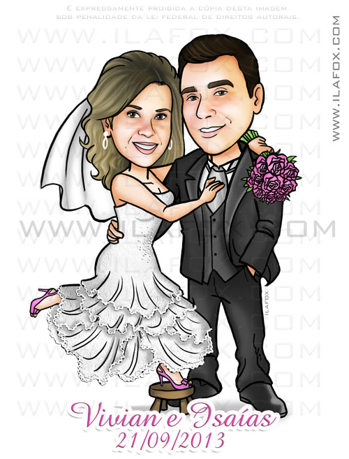 caricatura noivinhos, caricatura casal, caricatura personalizada, caricatura para casamentos, by ila fox