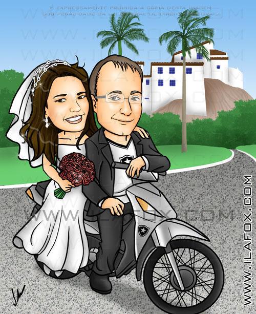 caricatura colorida, casal, noivos, noivinhos priscila e willian na moto, moto Biz, Convento da Penha, Espírito Santo, caricatura para casamento, by ila fox