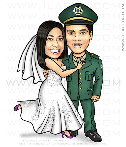 caricatura casal, caricatura noivinhos, caricatura noivo de farda, by ila fox