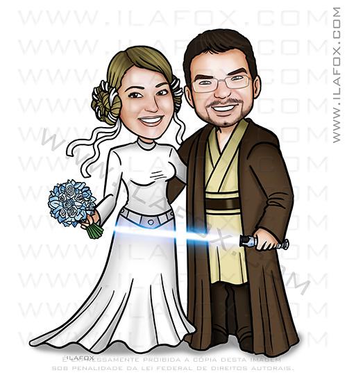 caricatura casal, caricatura noivos, caricatura personalizada, caricatura star wars, caricatura para casamento, caricatura convites, by ila fox