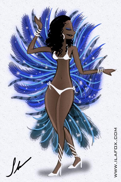 mulher com fantasia de carnaval azul valesca a carnavalesca ilustração by ila fox