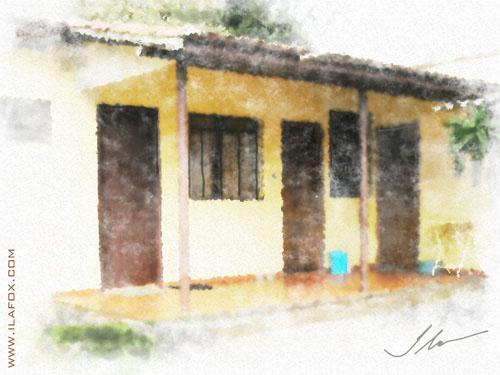 a frente da casinha Tomazina, pintura em aquarela digital