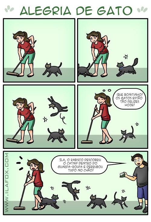 alegria de gato, erva de gato, gatos felizes, gato e catnip, quadrinho by ila fox