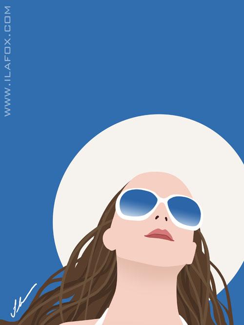 Arte vetorial, mulher de chapéu e óculos com céu azul, ilustração by ila fox