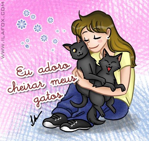 Adoro cheirar meus gatos, ilustração by ila fox