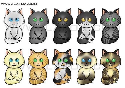 Imã gatinhos para Adote um Gatinho, Ilustração gato branco, azul, cinza, preto, malhado, rajado, creme, amarelo, tricolor, siamês, casca de tartaruga by ila fox