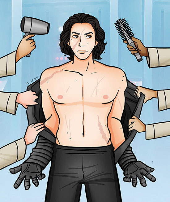 the force awakens, kylo ren, star wars, adam driver, hair, kylo ren has a beautiful hair, fanart