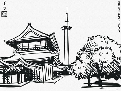 ilustração, contraste, técnica nanquim, Japão, contrastes, torre de Kyoto, Higashi Honganji, ilustração by ila fox