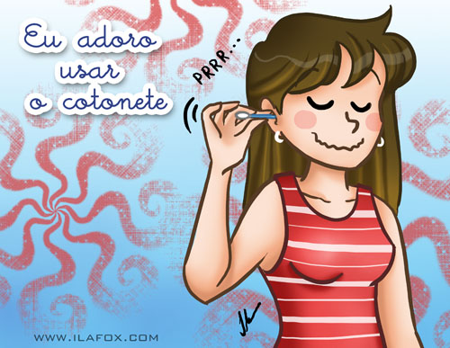 Eu adoro usar cotonet, ilustração by ila fox