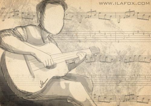 Daddy Cool, homem tocando violão, ilustração by ila fox