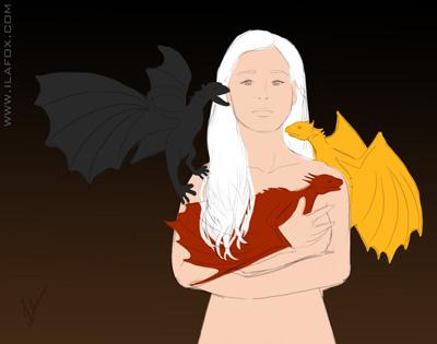 Ilustração Daenerys, Dragão, fogo, Game of Thrones, Guerra dos Tronos, passo a passo Ilustração by Ila Fox