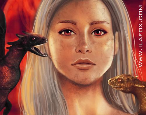 Ilustração Daenerys, Dragão, fogo, Game of Thrones, Guerra dos Tronos, by Ila Fox