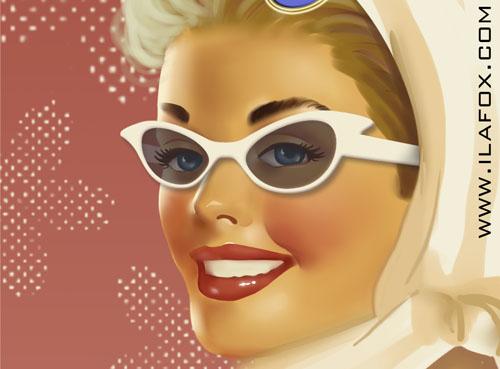 Ilustração fiftie pinup anos 50 by Ila Fox